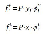 Fugacity as function of the pressure, molar fraction and fugacity coefficient