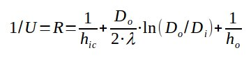 Overall heat transfer equation for pipe