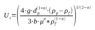 Calculation formula for particle terminal velocity