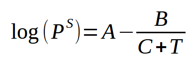 Antoine equation for vapor pressure